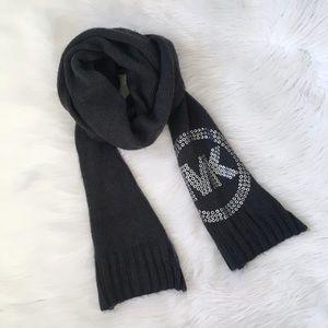 MICHAEL Michael Kors Grey Knit Logo Scarf Acrylic